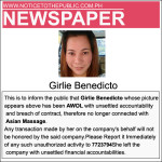 Girlie Benedicto, Awol